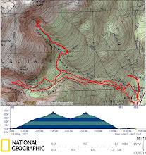 Photo: Sat for the course, a snow/no-snow line threatened to hover around treeline, w/ High avy danger everywhere. We skinned up Tux trail @7:30 but shifted over to Sherb to practice single travel (pretending pitch 10 degrees steeper). In Huntington, Fan was at risk of naturals from filled-in gullies, but I found a small snowfield nr base of a nearly bare Damnation to dig a pit. Back down Fire Rd & up to HoJos we described our very poor test results to snow ranger Jeff Lane - always nice to learn from snow rangers during avy course, but even better for students to provide info to them! Next we skinned up to dig a pit off to the side in a very small snowfield amidst the massive boulder fields, w/ very poor test results again.  Continued skinning up to to ski Little Headwall, rated Moderate but pounded into submission by a 5-boarder simul ski then some sort of tromping-about climbing group. Back at Pinkham we skied out on Old Jackson to practice rescuing two dummies (wetsuits stuffed full of snow) on a small hillside.