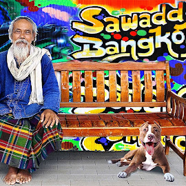 Swadde Bangkok Hello Bangkok by James Morris - Digital Art People ( hello bangkok, bangkok, swadde bangkok, dog, people )