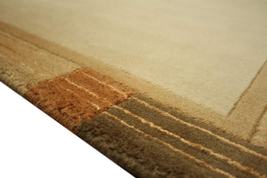 dywan nepal 100% wełna 90x160cm beżowy z jedwabiem ekskluzywny