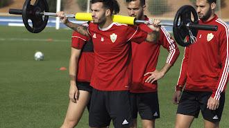 José Carlos Lazo en el entrenamiento de este miércoles.