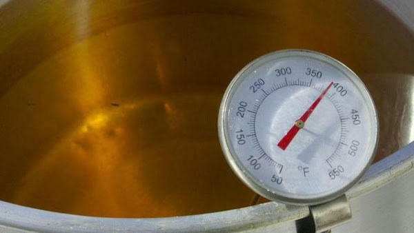 Make sure your oil is at temperature of 325 - 350 degrees before you...