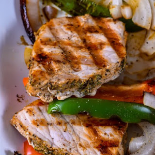 Grilled Pork Sirloin with Peppers and Onions.