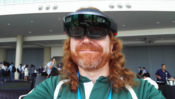 Chris wearing Hololens, by Christian Heilmann