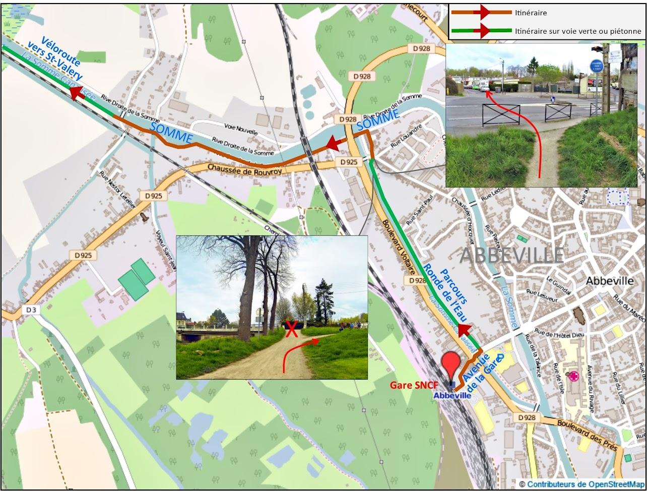 Notre carte détaillée pour partir de la gare SNCF d'Abbeville vers St Valery sur Somme à vélo via la véloroute Vallée de Somme - Blog La Baie de Somme à vélo depuis Paris par veloiledefrance.com