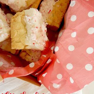 White Chocolate Dipped Peppermint Sugar Cookie Bars Recipe
