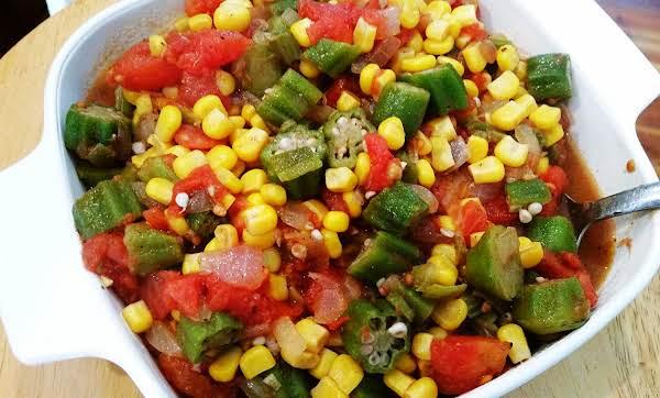 ~ My Creole Stewed Okra, Corn & Tomatoes ~ image