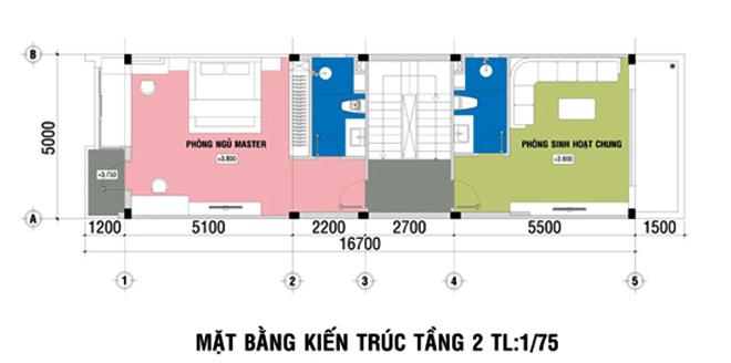 3 mẫu thiết kế nhà 5x20m có thang máy