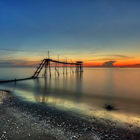 Orange Vista in Blue Hour by SyaFiq Sha'Rani - Landscapes Waterscapes