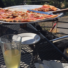 Gluten free in house made crust! A 2towns cider, and an added bonus, puppies on the patio (they even have a water bowl)