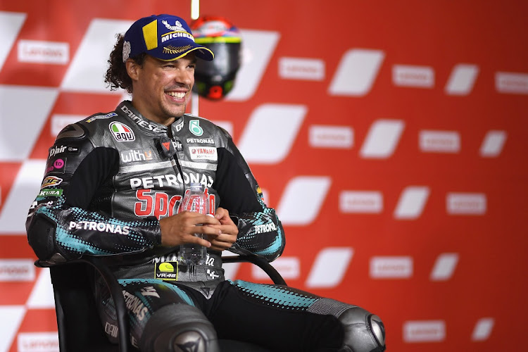 Franco Morbidelli of Italy smiles and celebrates his first MotoGP victory during the press conference at the end of the MotoGP race in Misano Adriatico, Italy, September 13 2020. Picture: MIRCO LAZZARI/GETTY IMAGES