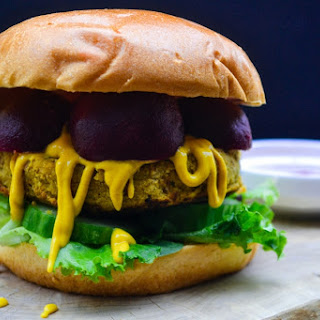 Spiced Chickpea, Carrot and Coriander Burgers.