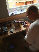 Photo: Solder Master Chad at work. We had some packs sent over by Thunder Power so just needed the 4mm bullets attached.