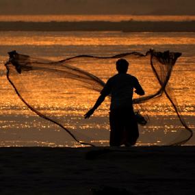 The Fisherman throwing his net.... by Gautam Tarafder - People Portraits of Men (  )