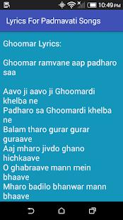 Lyrics For Padmavati Songs - náhled