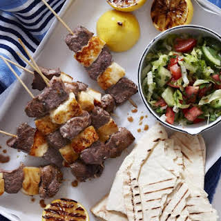 Lamb and Halloumi Kebabs.