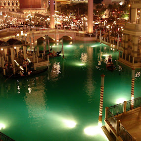 Lagoon by Pal Mori - Artistic Objects Other Objects ( las vegas, water, gondola, laguna, night life, night scene, green, serene, italy, venetian )