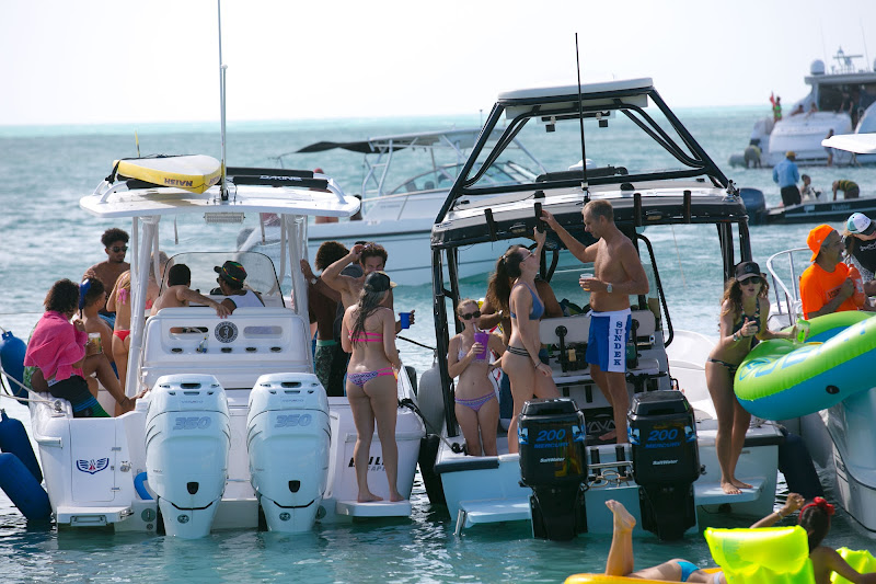 A boat party during a shore excursion in Antigua.