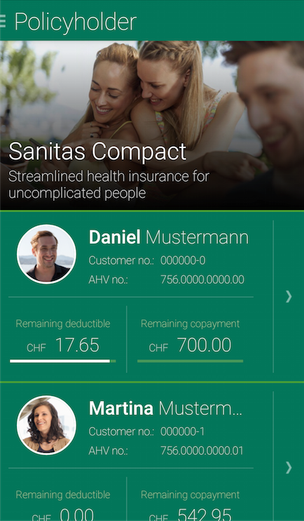 Sanitas customer portal app- screenshot