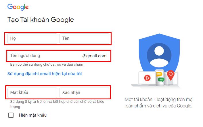 Tạo tài khoản Google (2)