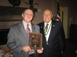 Photo: Dennis was presented the Club President Award on June 10, 2011 for a job well done. With him is Blaine.