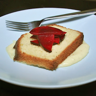 Olive Oil Cake with Olive Oil Pudding and Plums.