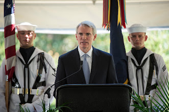 Photo: U.S. Sen. Rob Portman, R-Ohio, speaks during a memorial service celebrating the life of Neil Armstrong, Friday, Aug. 31, 2012, at the Camargo Club in Cincinnati. Armstrong, the first man to walk on the moon during the 1969 Apollo 11 mission, died Saturday, Aug. 25. He was 82. Photo Credit: (NASA/Bill Ingalls)
