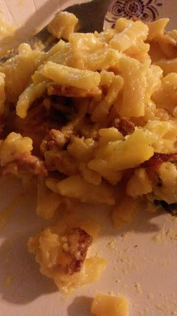 Applewood bacon wrapped hotdog mac and cheese