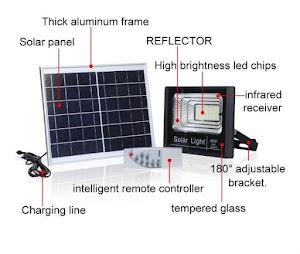Proiector 45W, 125 LED, cu panou solar si telecomanda