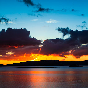 Alto Rabagão II by Júlio Alves - Landscapes Waterscapes ( water, orange, pôr-do-sol, barragem, lake, azul, lago, laranja, montalegre, nature, blue, natureza, sunset, dam, água, portugal )