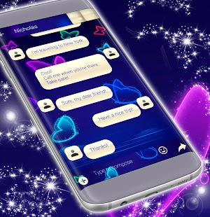 SMS Neon Butterfly Téma - náhled
