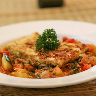 Ratatouille with Grilled Cottage Cheese Steak Recipe.