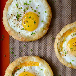 Cheesy Puff Pastry Baked Eggs.