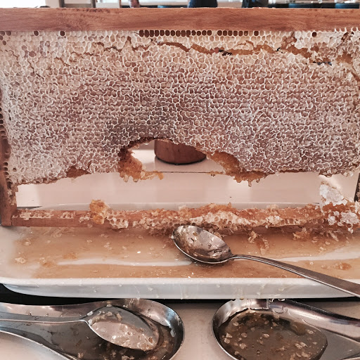 The Conrad in Istanbul had an incredible breakfast buffet with hot dishes, fruit, pastries, and seven types of honey, including this honey comb. All this and a great view of the Bosphorus.
