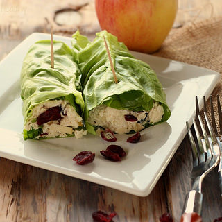 Cranberry Chicken Salad Lettuce Rollup Sandwiches.