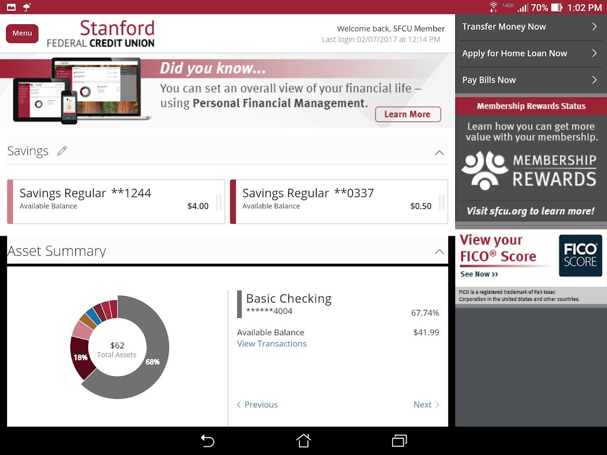 Stanford FCU Mobile Banking- screenshot