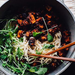 Crispy Harissa Tofu and Sesame Noodles (Vegan, Gluten Free)