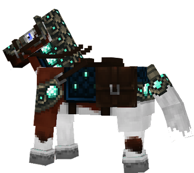 Indian-style horse with teal or navy blue eyes, diamond armour,and saddle.