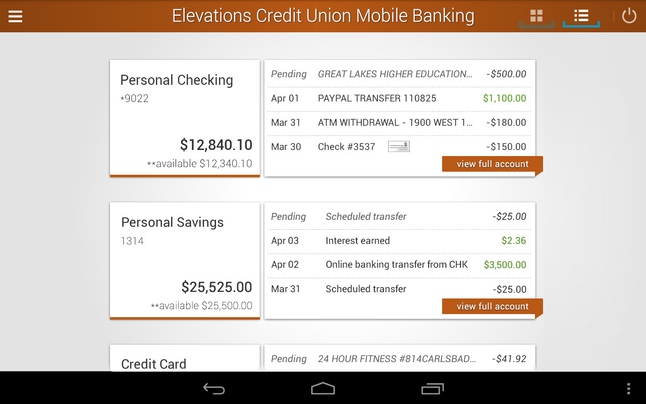 Elevations Credit Union Mobile- screenshot