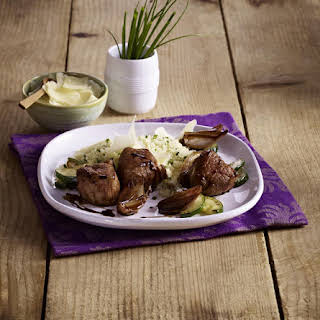Lamb Chops with Braised Shallots and Couscous.