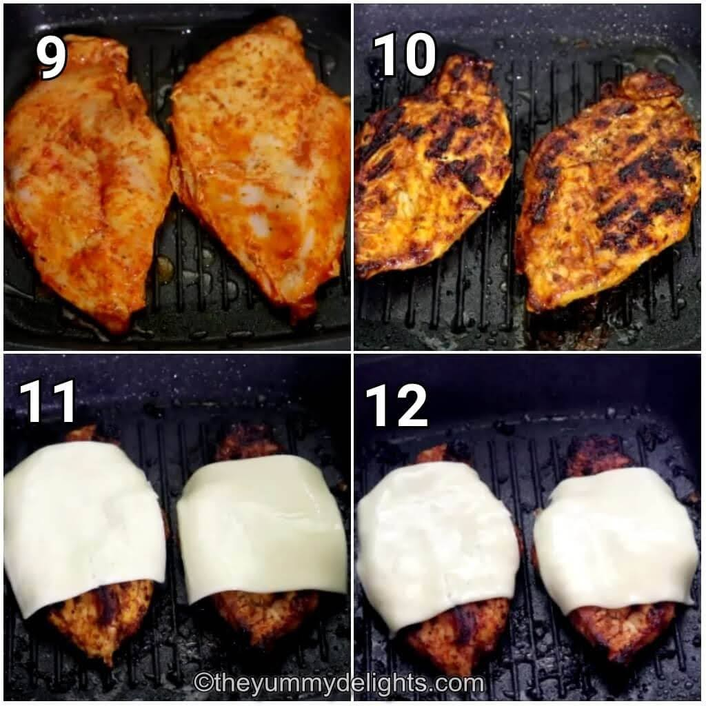 step by step image collage of grilling the chicken breast to make cajun chicken sandwich