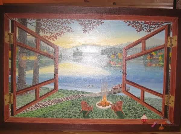 Log Cabin Paradise Window