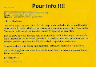 Photo: Mail de Mr BESSON....du 13 Avril 2011