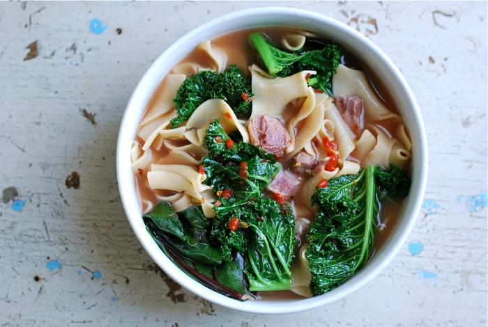 Potlikker Soup with Ham Hock and Egg Noodles Recipe