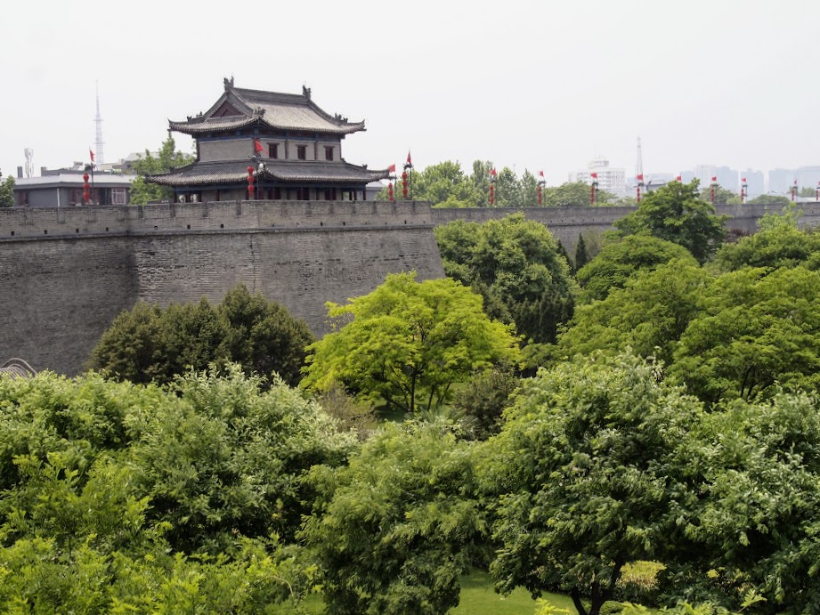 View of the city wall in Xian. The area at the base of the wall makes for a good strolling ground with all the trees and the moat.