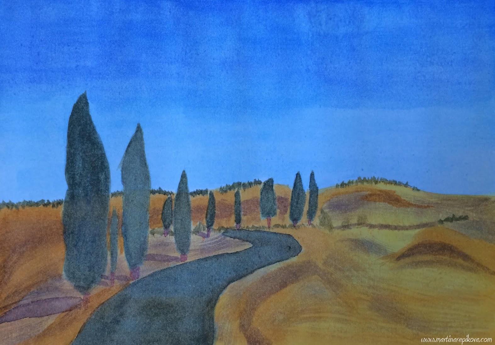 Italian landscape (a watercolour painting)