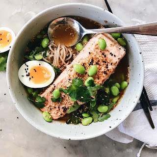 SALMON SOBA BOWLS WITH MISO GINGER BROTH.