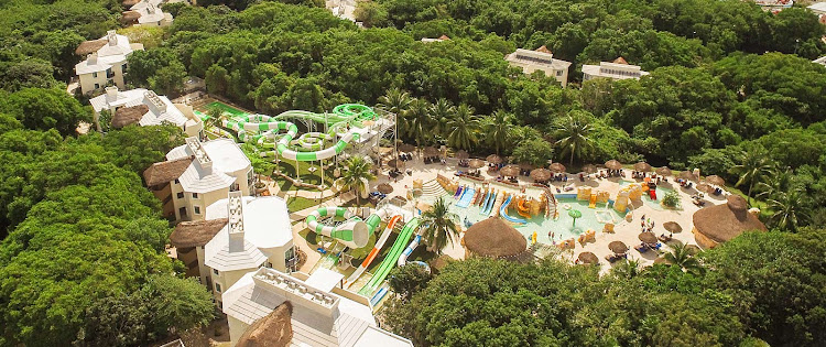 You'll find water slide spills and thrills amid a tropical rainforest at Sandos Caracol Eco Resort (click to enlarge).