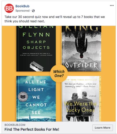 BookBub - Facebook ad example 9
