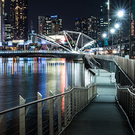 Melbourne at Night by Allan Williams - City,  Street & Park  Night ( #nightphotography, #yarrariver, #longexposure, #melbourne, #water )