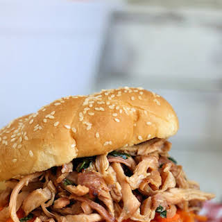 Smokey Thai Pulled Chicken Sandwiches with Quick Pickled Carrots.